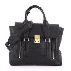 3.1 Phillip Lim Pashli Satchel Leather Medium Black 373061