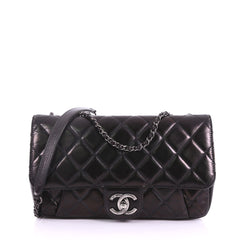 Chanel Pleated Chain Flap Bag Quilted Calfskin Medium Black 37316109