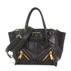 Miu Miu Model: Biker Convertible Tote Leather Small Black 37316/119