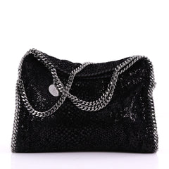 Falabella Fold Over Bag Sequin Embellished Velvet