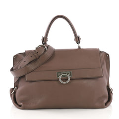 Salvatore Ferragamo Model: Sofia Satchel Grainy Leather Large Brown 37316/124
