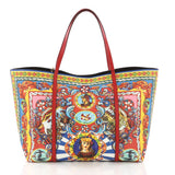 Dolce & Gabbana Miss Escape Open Tote Printed Saffiano Leather Red 37316126