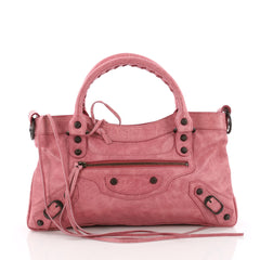 Balenciaga First Classic Studs Handbag Leather Pink 37316137