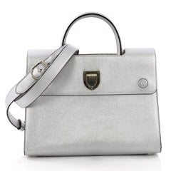 Christian Dior Diorever Top Handle Bag Leather Medium Silver 37316181