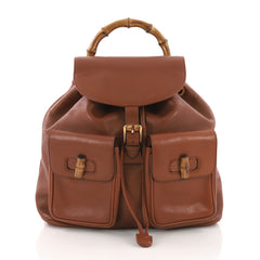 Gucci Model: Vintage Bamboo Backpack Leather Medium Brown 37316/52