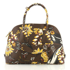 Prada Model: Front Pocket Dome Tote Printed Saffiano Medium Brown 37316/64