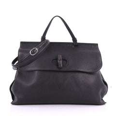 Gucci Bamboo Daily Top Handle Bag Leather Large Black 3731674