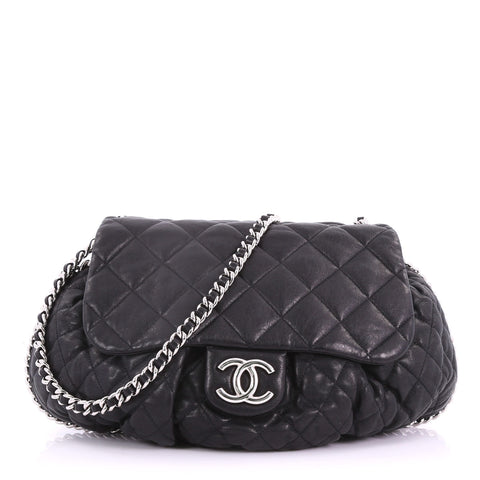 Chanel Chain Around Flap Bag Quilted Leather Large Black 373255 – Rebag 185e22a170084
