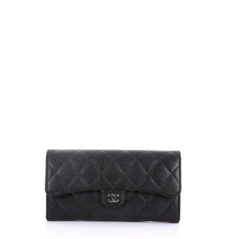 26ffcd123aba Chanel CC Gusset Classic Flap Wallet Quilted Caviar Long 373331 – Rebag