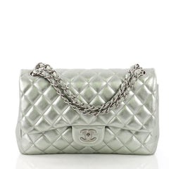 Chanel Classic Double Flap Bag Quilted Lambskin Jumbo Green 373381