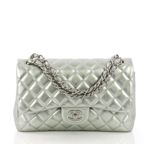c045e2304be0 Chanel Classic Double Flap Bag Quilted Lambskin Jumbo Green 373381 – Rebag