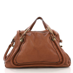 Chloe Paraty Top Handle Bag Leather Large Brown 373471