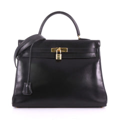 Hermes Kelly Handbag Black Box Calf with Gold Hardware 3737010