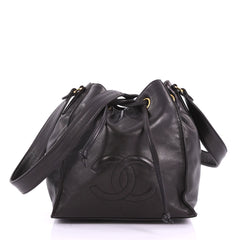 Chanel Vintage CC Drawstring Bucket Bag Lambskin Small 37370138