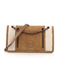Chanel Double Zip CC Flap Bag Quilted Suede and Neutral 37370144