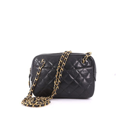 Vintage Zip Chain Shoulder Bag Quilted Leather Small