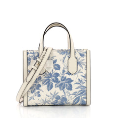 Gucci GG Ribbon Tote Printed Linen Small White 3737021