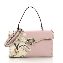 Valentino Rockstud Top Handle Satchel Printed Leather 37370230