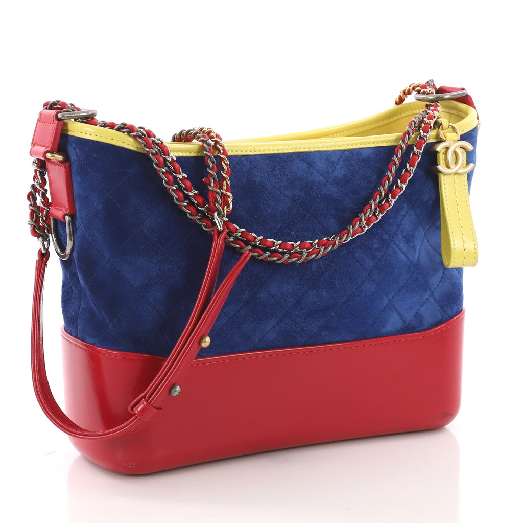 9bbe50ed9709bd Chanel Gabrielle Hobo Quilted Suede Medium Blue 37370232 – Rebag