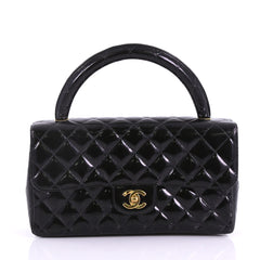 Chanel Vintage Twin Top Handle Flap Bag Quilted Patent 37370241