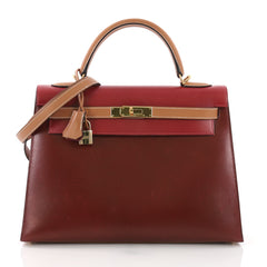 Hermes Kelly Handbag Tricolor Box with Gold Hardware 32