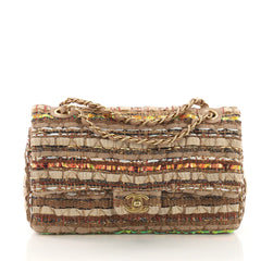 Chanel Classic Double Flap Bag Quilted Tweed and Ribbon Medium Brown 3737051