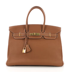 Hermes Birkin Handbag Brown Togo with Gold Hardware 35 373705