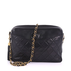 Chanel Vintage Diamond CC Camera Bag Quilted Leather Small Black 3737088