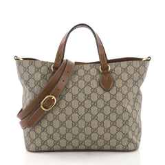 Gucci Convertible Soft Tote GG Coated Canvas Small Brown 3738416