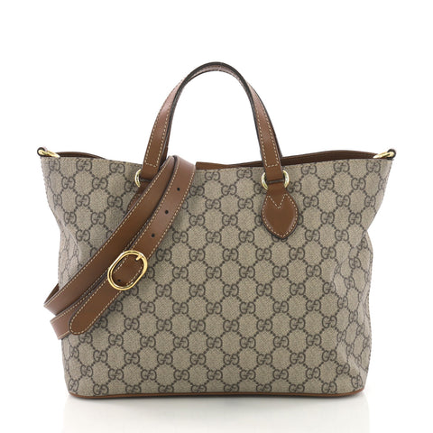 8dc1fa07200d Gucci Convertible Soft Tote GG Coated Canvas Small Brown 3738416 – Rebag