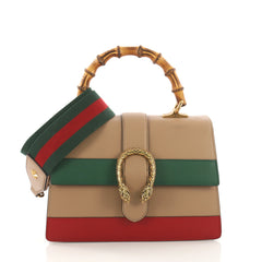 Gucci Dionysus Bamboo Top Handle Bag Colorblock Leather Neutral 373962