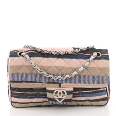 Chanel CC Heart Flap Bag Quilted Printed Jersey Medium 373981