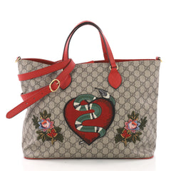 Gucci Convertible Soft Tote Embroidered GG Coated Canvas 374202