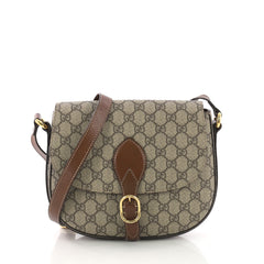 Gucci Flap Saddle Bag GG Coated Canvas Small Neutral 3742113