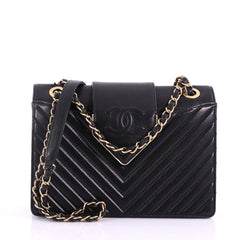 Chanel CC Chain Top Flap Bag Chevron Sheepskin Small 374219