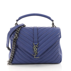 Saint Laurent Classic Monogram College Bag Matelasse Blue 374251