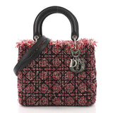Christian Dior Lady Dior Handbag Cannage Quilt Tweed with Pink 374264