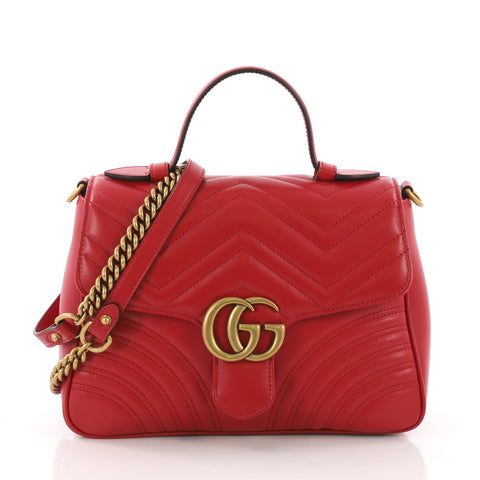 8755c93d982f7 Gucci GG Marmont Top Handle Flap Bag Matelasse Leather Small 374281 – Rebag