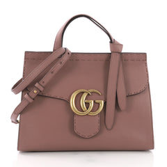 Gucci GG Marmont Top Handle Bag Leather Small Pink 3745237