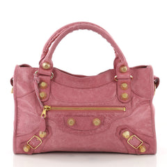 Balenciaga City Giant Studs Handbag Leather Medium Pink 3745241