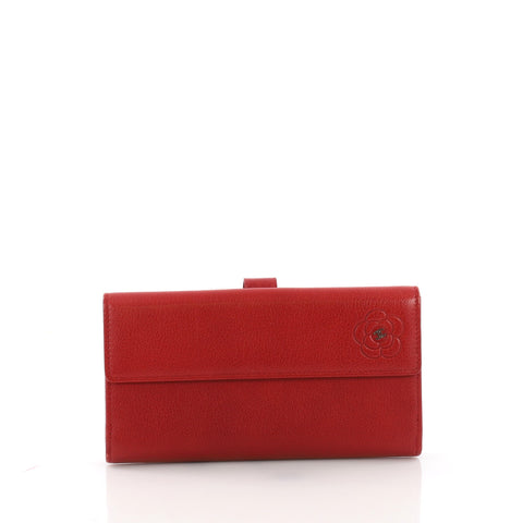 43b415bb2a1b Chanel Camellia Flap Wallet Leather Long Red 3745264 – Rebag