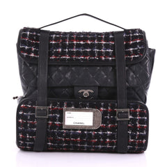 Chanel Roll Backpack Tweed with Quilted Calfskin Medium 3745415