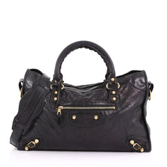 Balenciaga City Giant Studs Handbag Leather Medium Black 374583