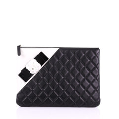 3c364d606fb8 Chanel Camellia O Case Clutch Quilted Lambskin Medium 3746917