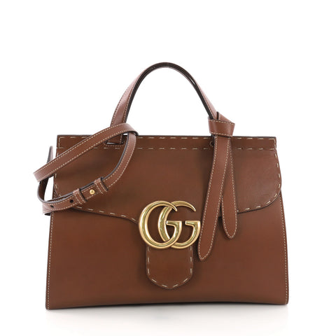 d8846fd6b923 Gucci GG Marmont Top Handle Bag Leather Small Brown 3746944 – Rebag
