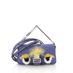 Fendi Monster Baguette Leather and Fur Micro Blue 3746949