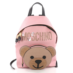 Moschino Teddy Bear Backpack Embellished Leather Pink 3746950