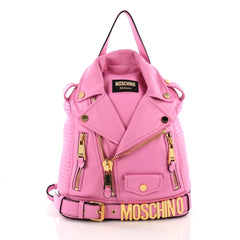 Moschino Moto Jacket Backpack Leather - Designer Handbag Pink 3746951