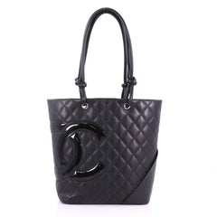 Chanel Cambon Tote Quilted Leather Medium Black 3746953