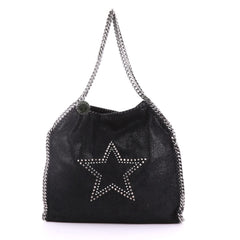 Stella McCartney Falabella Fold Over Bag Studded Shaggy Deer Black 3746964